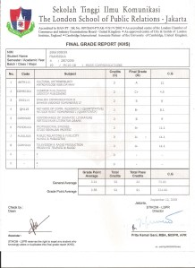 Final grade report semester 4